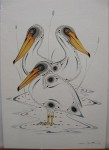 CANADIAN PELICANS; WATERCOLOUR, DATED '93 by eddy cobiness