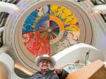 Canadian artist Alex Janvier was on hand for the unveiling of his restored artwork Morning Star in the Grand Hall of the Canadian Museum of History which had suffered some deterioration since it was originally painted in 1993. Assignment #118249 // Photo taken at 10:01 on September 16, 2014. (Wayne Cuddington/Ottawa Citizen)